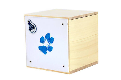 Box mit Pfotenabdrcuk